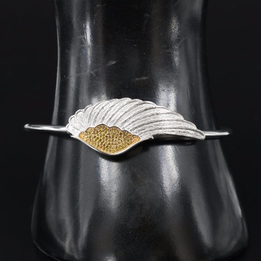 Sterling Diamond Wing Cuff