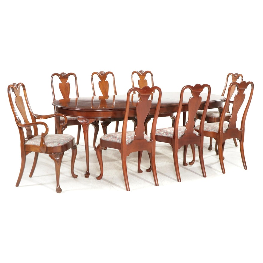 Queen Anne Style Mahogany Dining Table with Eight Chairs