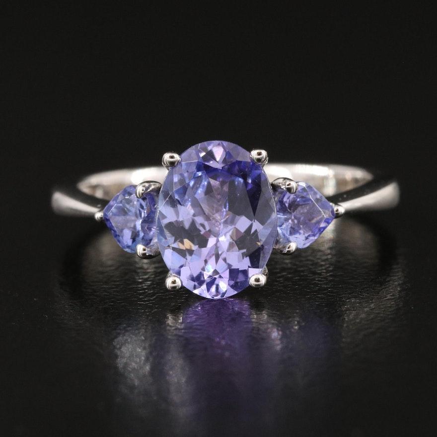 Sterling Silver Three Stone Tanzanite Ring