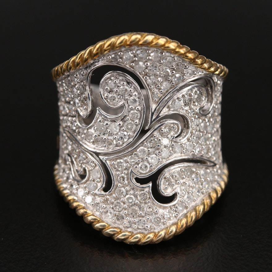 Sterling 1.00 CTW Diamond Scrollwork Saddle Ring with Braided Edges