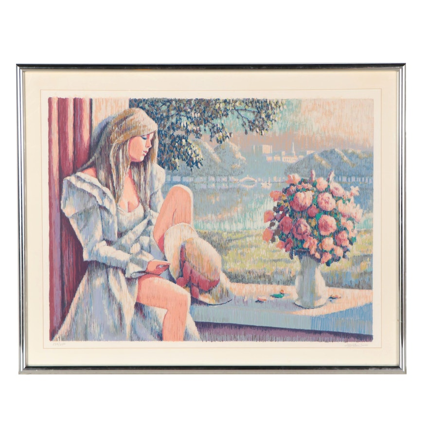 Barry Leighton-Jones Large-Scale Serigraph of Woman in Window, Late 20th Century