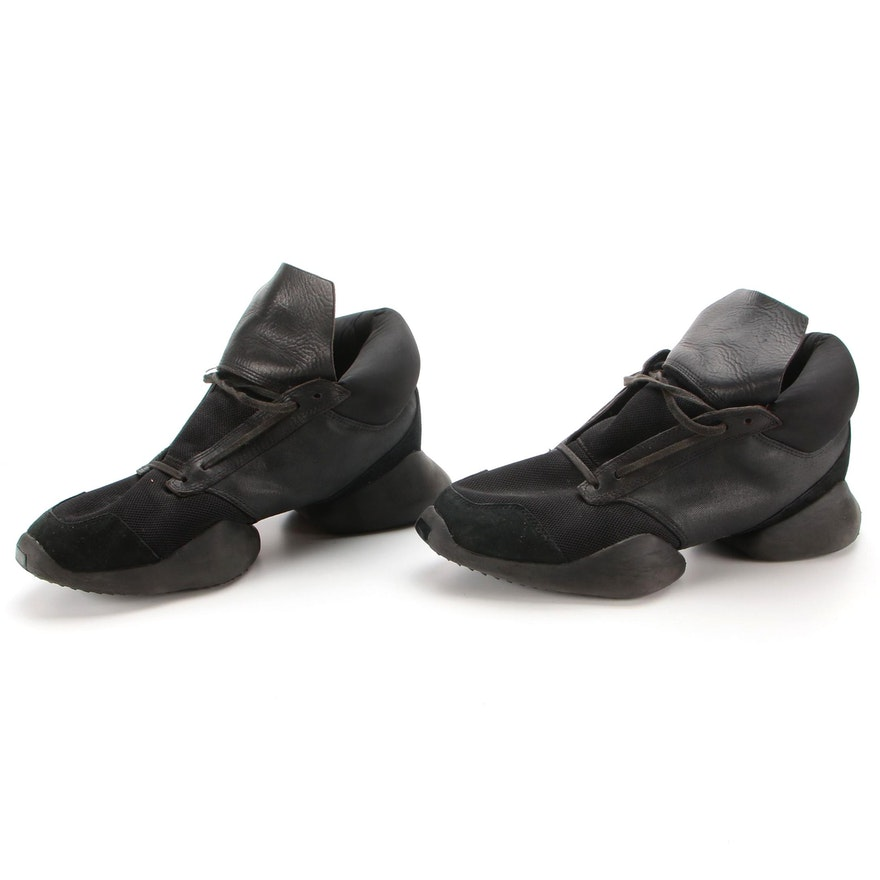 Men's Rick Owens x Adidas Vicious Collection Runners Split Sole Sneakers