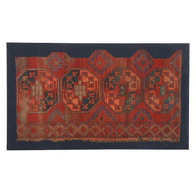Hand-Knotted Afghan Turkmen Rug Fragment, Mid-Late 20th Century