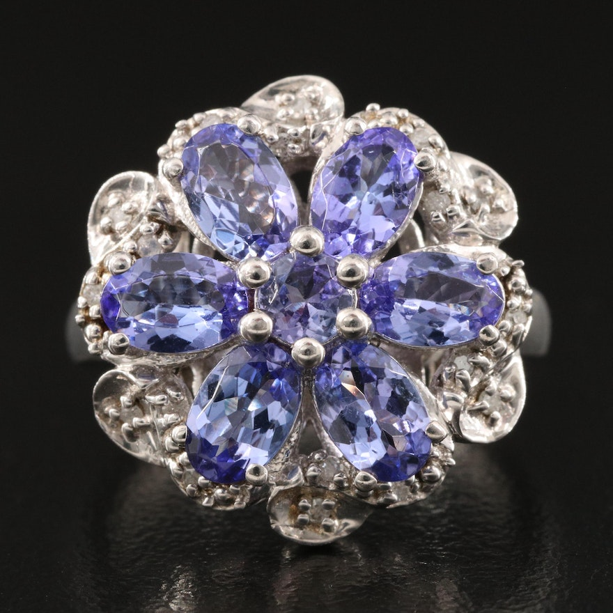 Sterling Silver Tanzanite and Diamond Floral Ring