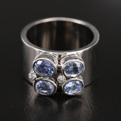 14K Sapphire and Diamond Bezel Ring