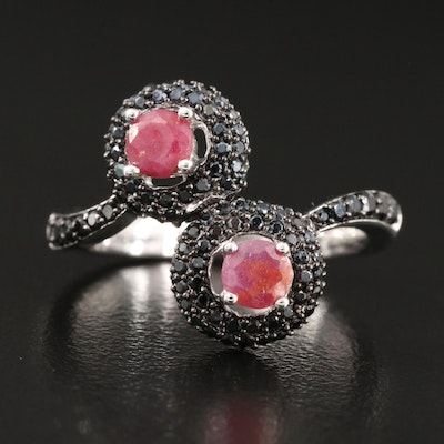 Sterling Silver Corundum and Spinel Bypass Ring