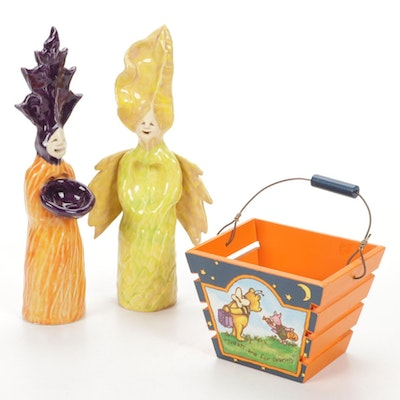 Hand Crafted Ceramic Figurines and Winnie The Pooh Basket