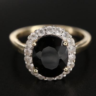 10K Black Onyx and White Topaz Halo Ring