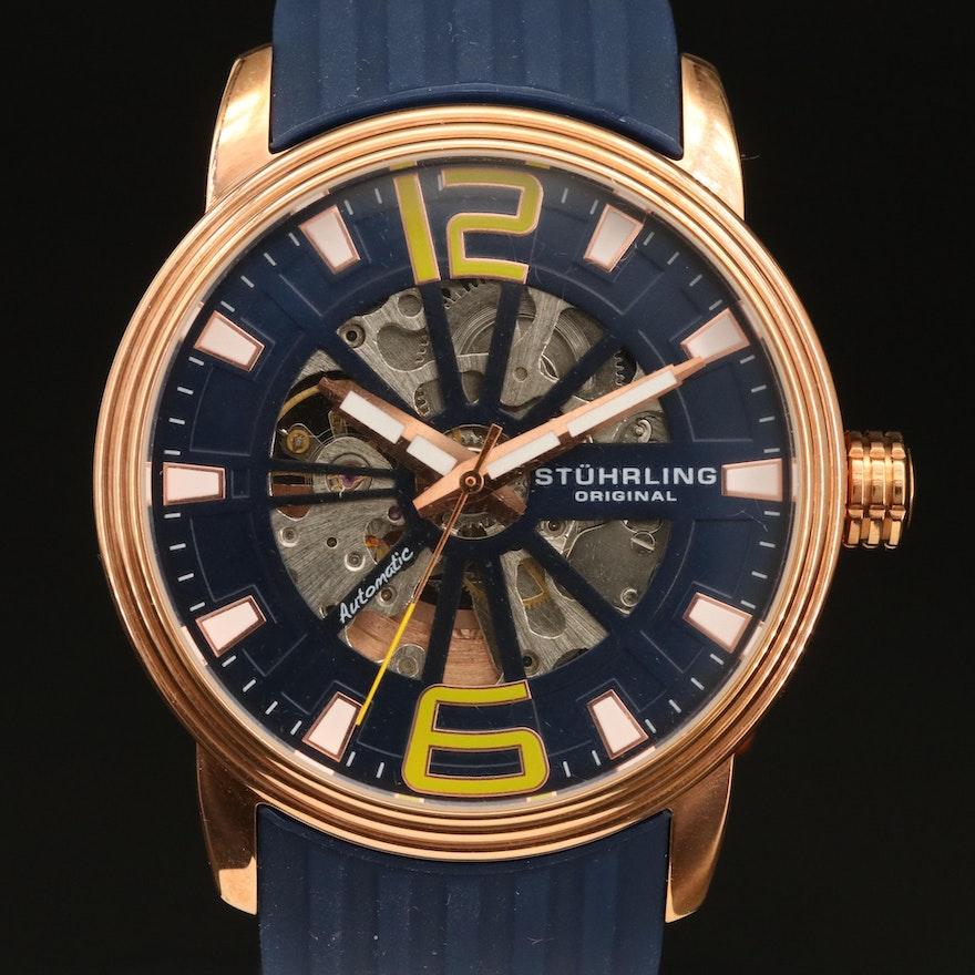 Stührling Skeleton Dial Stainless Steel Wristwatch