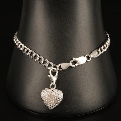 Sterling Diamond Heart Enhancer Charm on Double Curb Bracelet