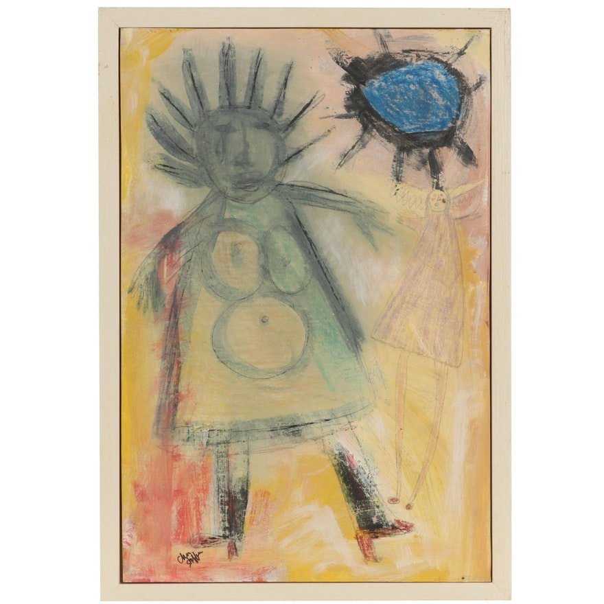 "Cher Shaffer Folk Art Mixed Media Painting ""Ma Ma Sees a Fairy,"" 2007"