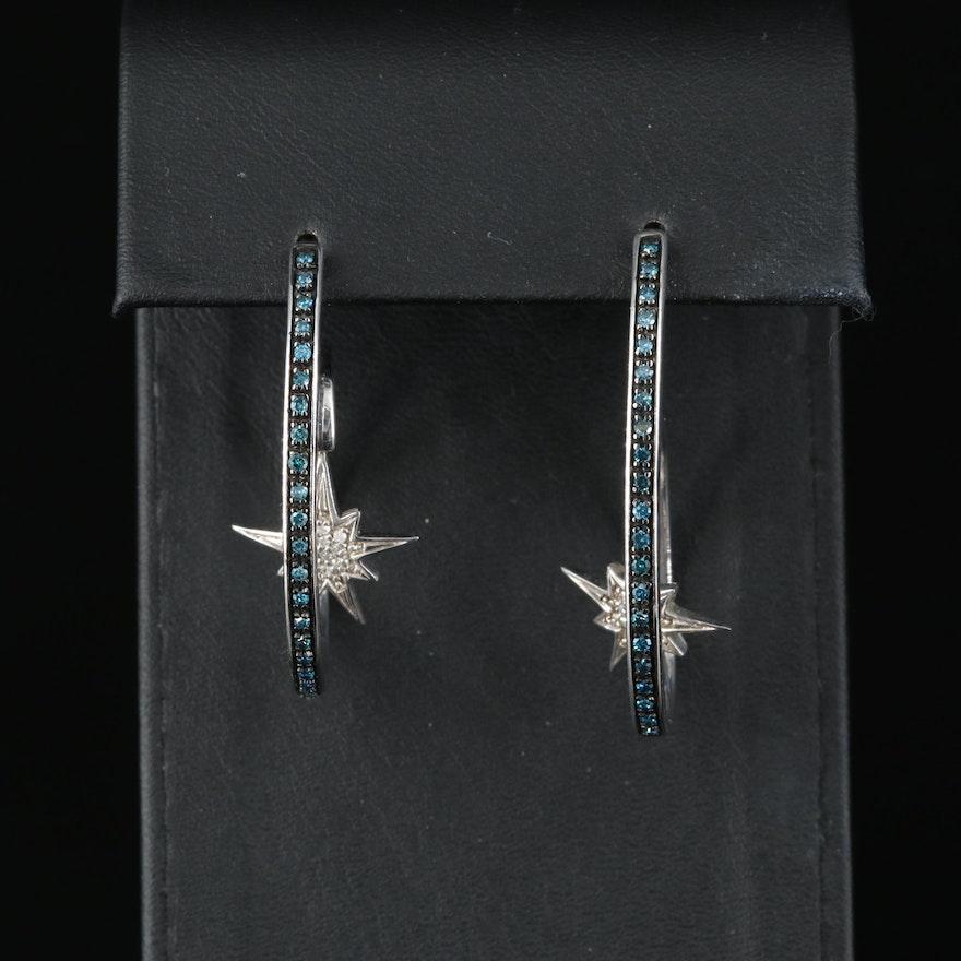 Sterling Diamond Spiral Hoop Earrings with Starburst Drop