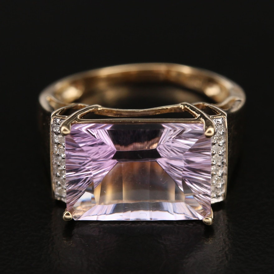 10K Amethyst and Diamond Cocktail Ring