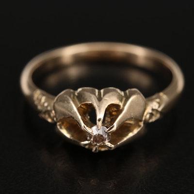 Antique 10K Diamond Belcher Ring