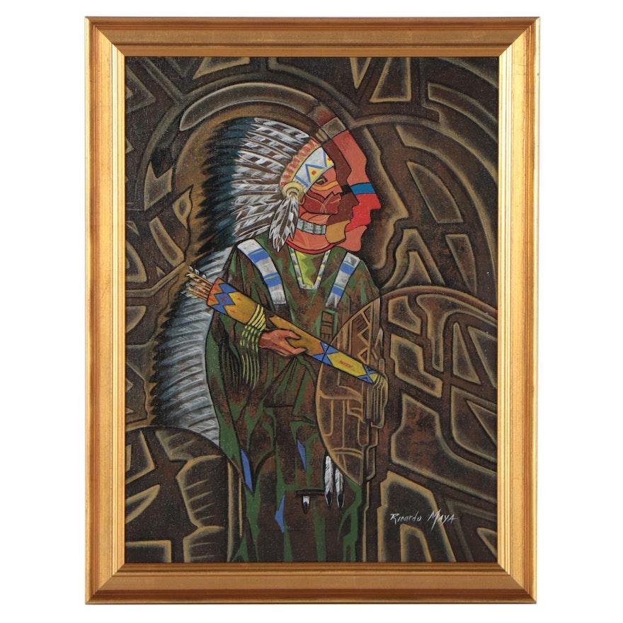 Ricardo Maya Stylized Portrait Acrylic Painting of Native American