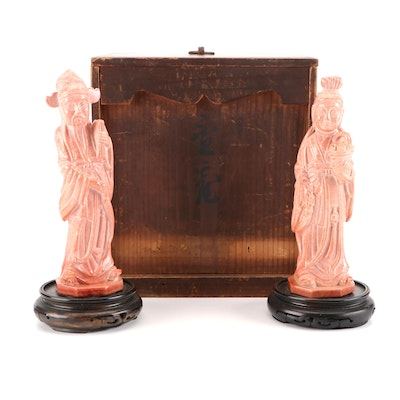 Chinese Carved Marble Guanyin and Scholar Figurines