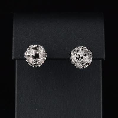 Eva LaRue Sterling Diamond Openwork Star Earrings