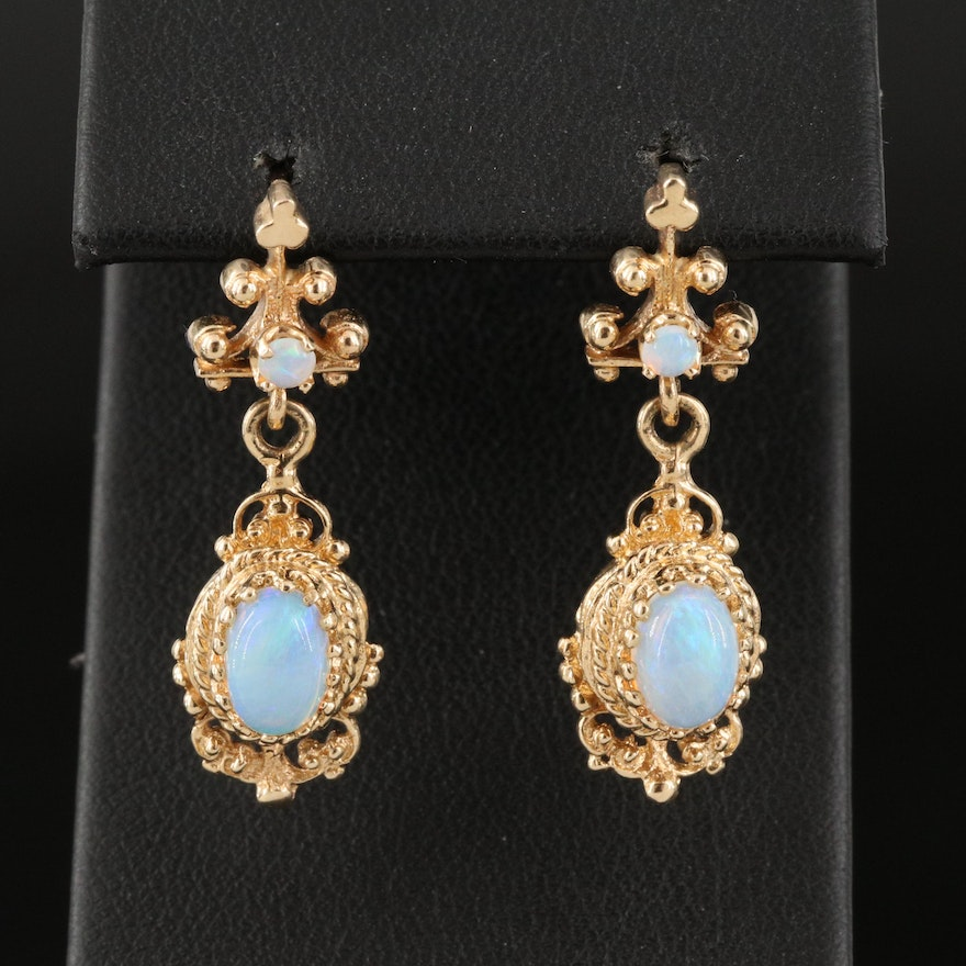 14K Opal Drop Earrings with Granulation and Braided Detail