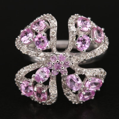 Sterling Pink Sapphire and Diamond Floral Ring