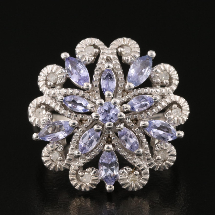 Sterling Silver Tanzanite and Diamond Floral Scrollwork Ring