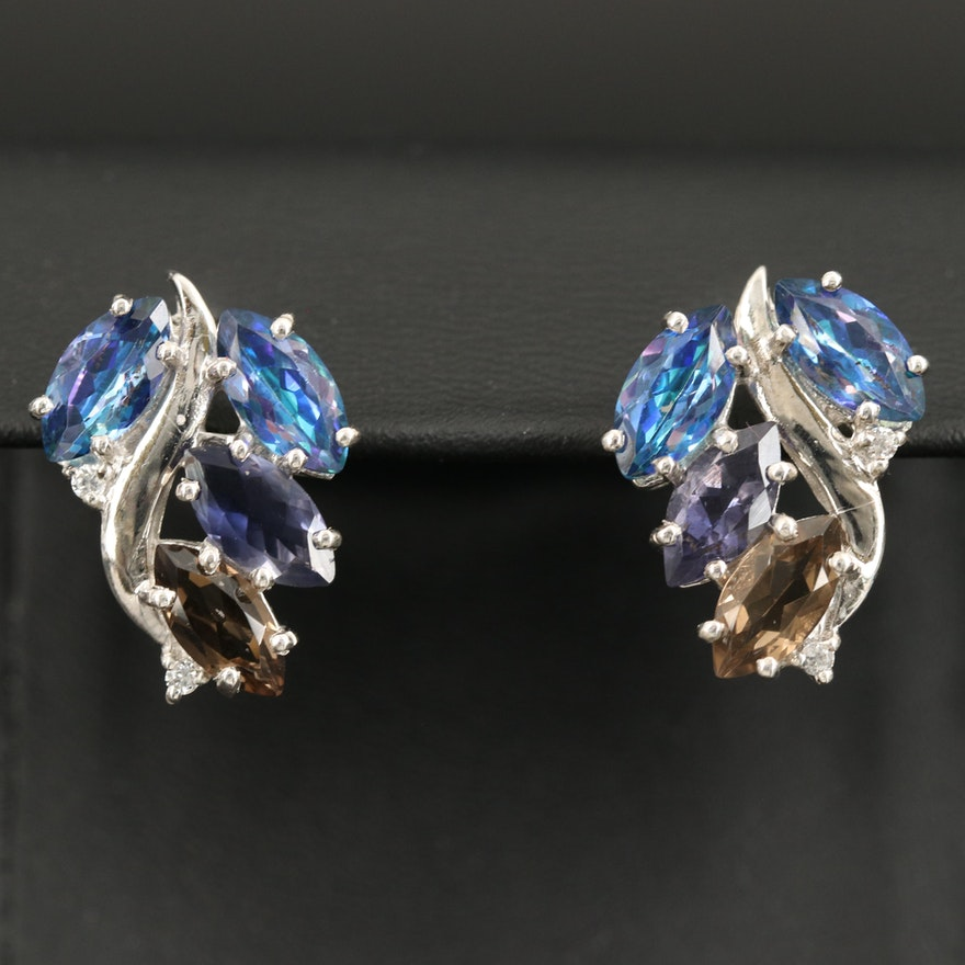Sterling Wave Earrings with Topaz, Iolite and Smoky Topaz