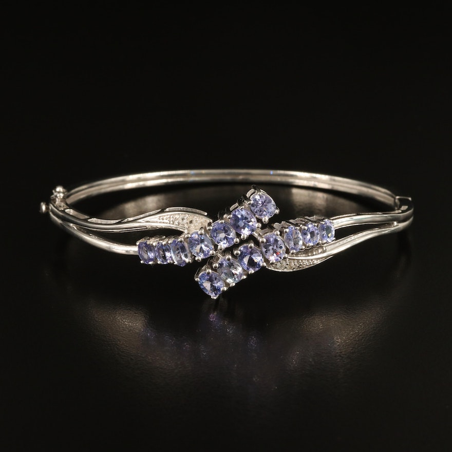 Sterling Tanzanite and Topaz Crossover Hinged Bangle