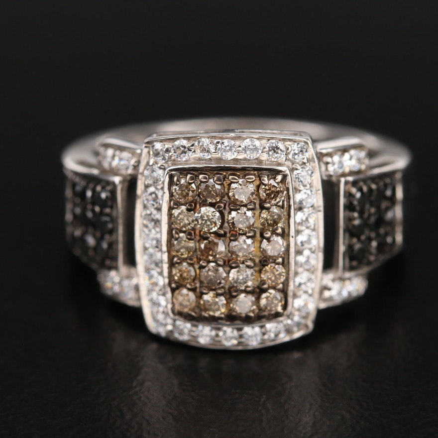 Sterling Pavé Diamond and Cubic Zirconia Ring