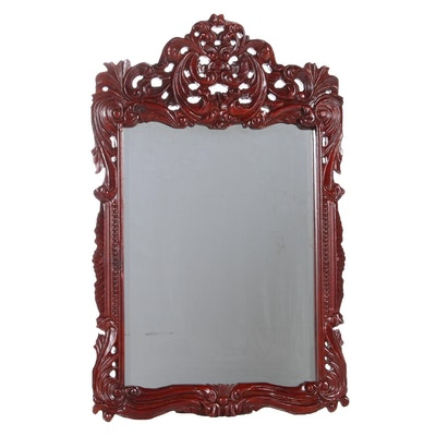 Chinoiserie Style Carved Red Lacquerware Framed Wall Mirror