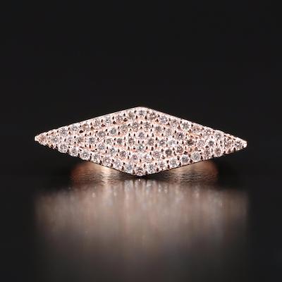 14K Pavé Diamond East-West Navette Ring