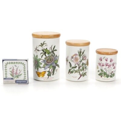 """Portmeirion """"Botanic Garden"""" Graduated Porcelain Canisters and Coasters"""