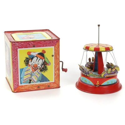 Tin Litho Toy and Matty Mattel Toymakers Clown in a Box