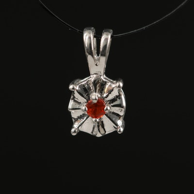 Sterling Silver Fire Opal Pendant