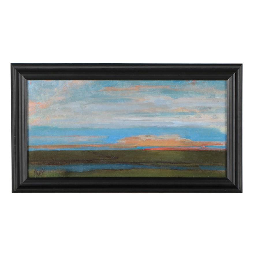 "Monica Cascio Landscape Oil Painting ""Eventide,"" 2021"