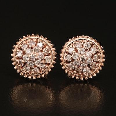 14K Rose Gold 0.76 CTW Diamond Cluster Earrings