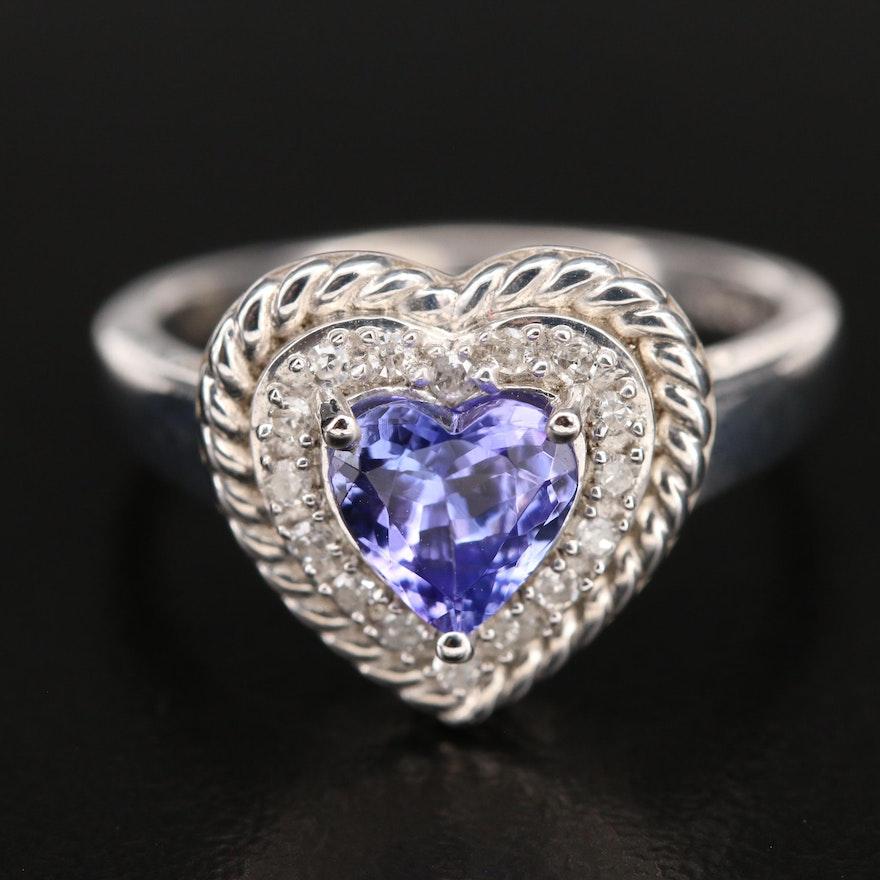Sterling Tanzanite and Diamond Braided Heart Ring