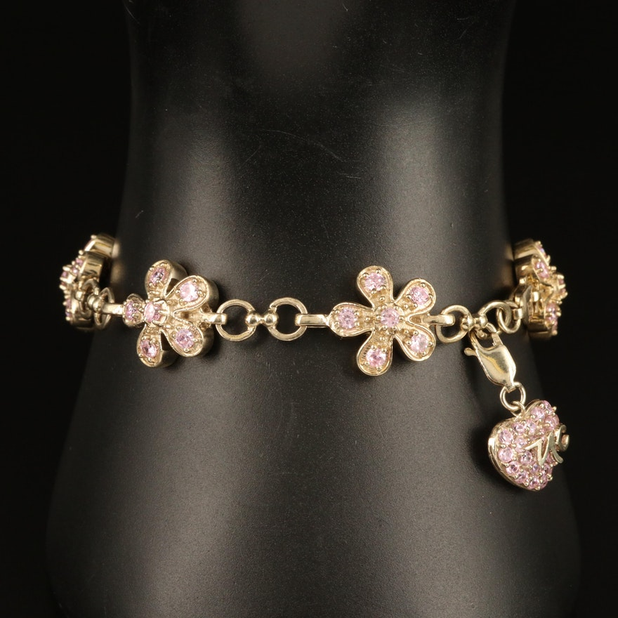 Sterling Cubic Zirconia Flower Bracelet with Removable Heart Charm