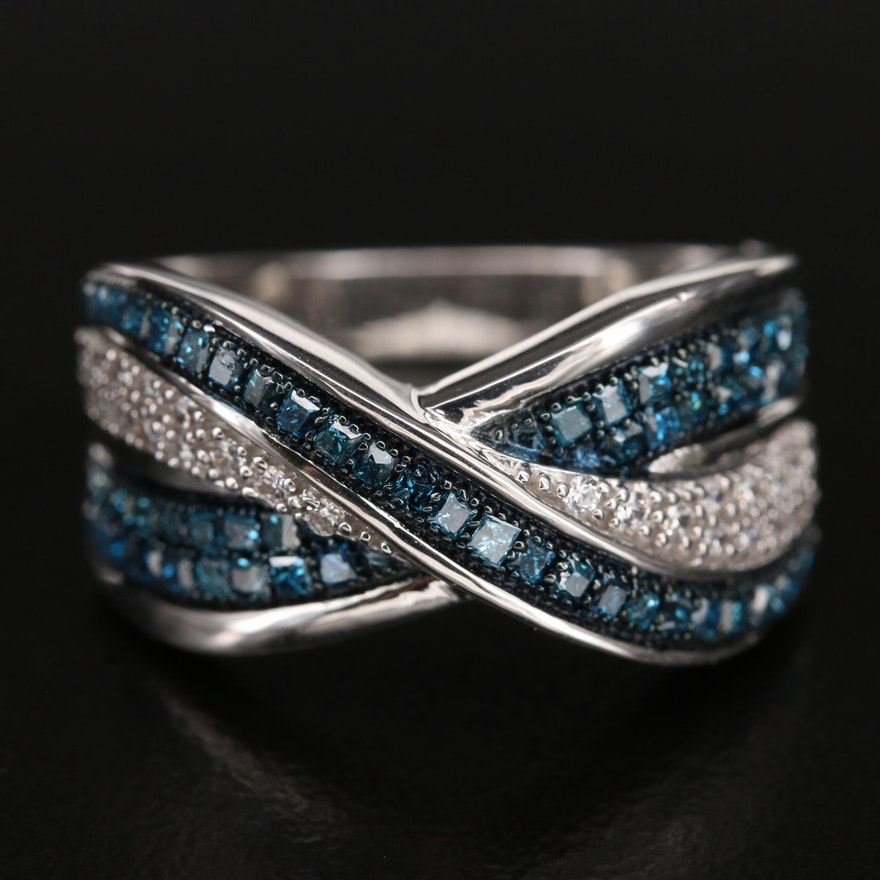 Sterling Diamond and Cubic Zirconia Crossover Ring
