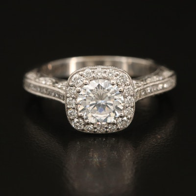 Tacori 18K Diamond Semi-Mount Ring with Cubic Zirconia Center