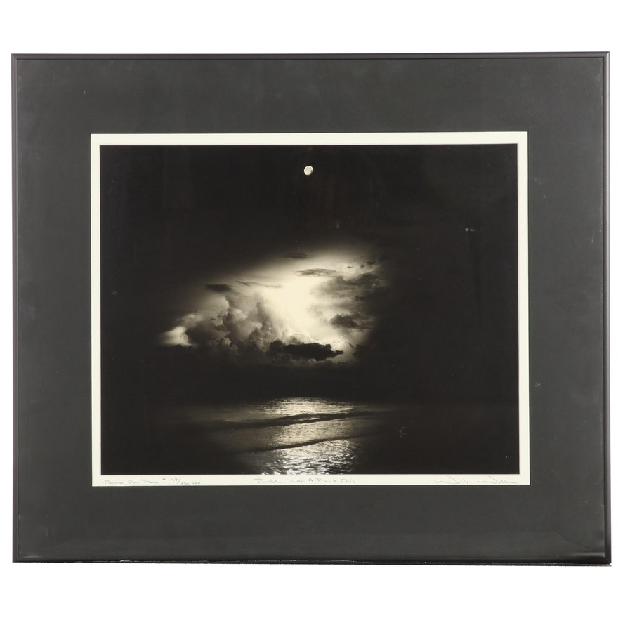 """Woody Walters Silver Gelatin Photograph """"Moonrise Over Storm,"""" Late 20th Century"""