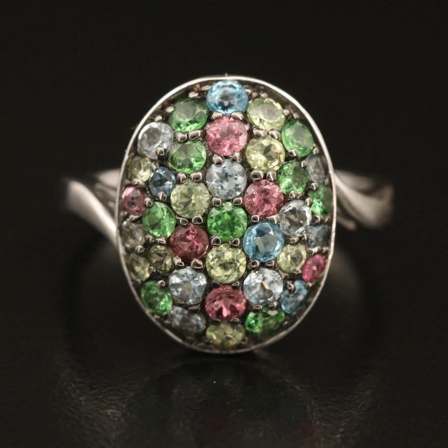 Sterling Cluster Ring Including Tourmaline, Topaz and Tsavorite