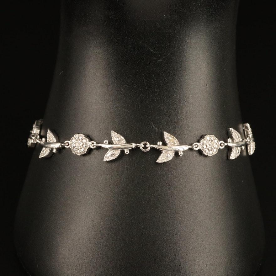 Sterling Diamond Flower Link Bracelet