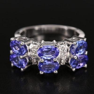 Sterling Tanzanite and Zircon High Polish Ring