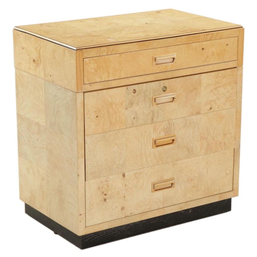 """Henredon """"Scene Two"""" Modernist Olive Ash Burl Veneer Office Cabinet"""