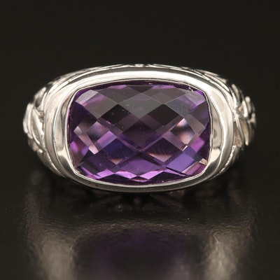 Sterling Amethyst Foliate Ring