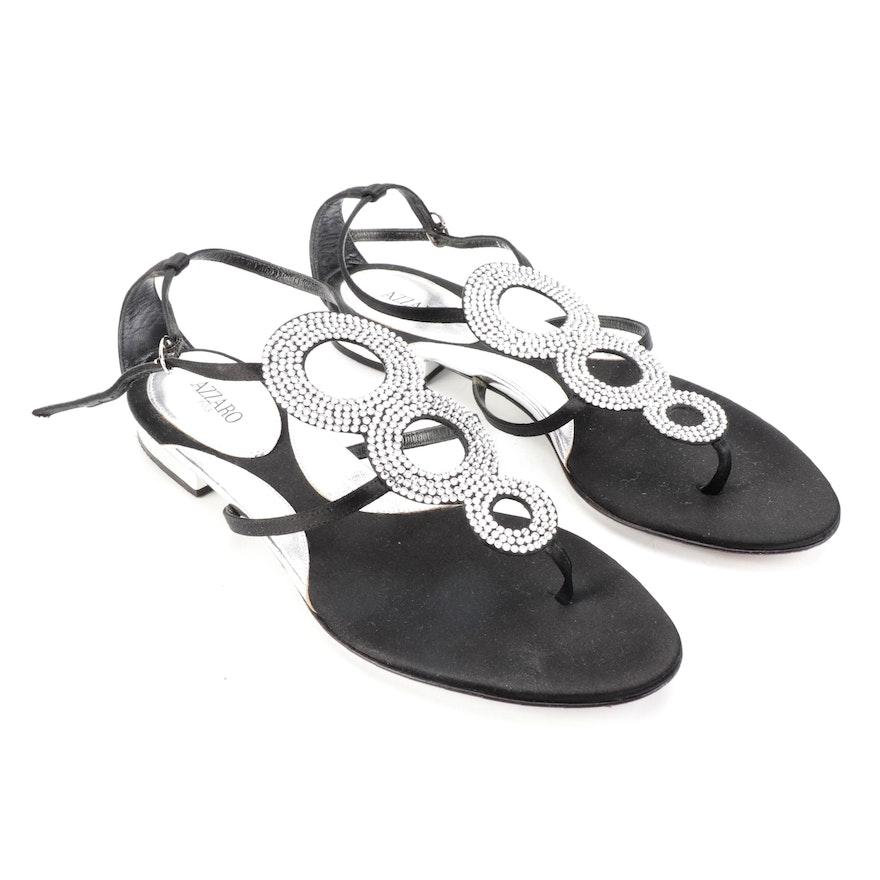 Azzaro Embellished Black Satin Sandals