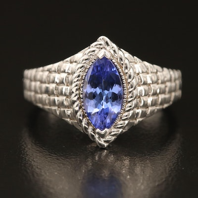 Sterling Tanzanite Navette Ring with Woven Motif