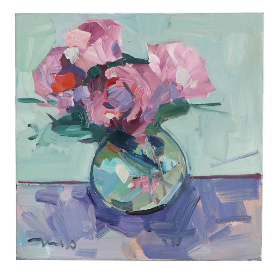 "Jose Trujillo Oil Painting ""Blushing Roses"" 2021"