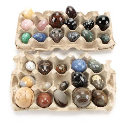 Tiger Iron, Larvikite, Sheen Obsidian and Other Polished Stone Decorative Eggs