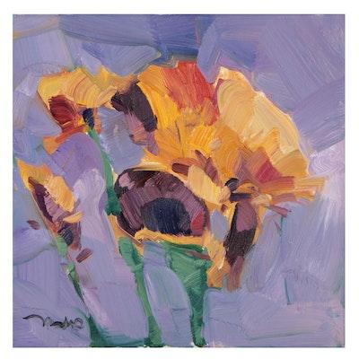 "Jose Trujillo Oil Painting ""Marigolds,"" 2021"