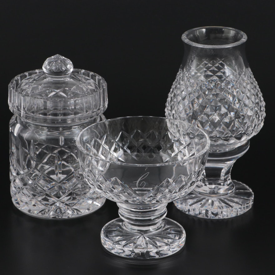 Waterford Crystal Bowl and Hurricane Lamp with Other Crystal Biscuit Barrel